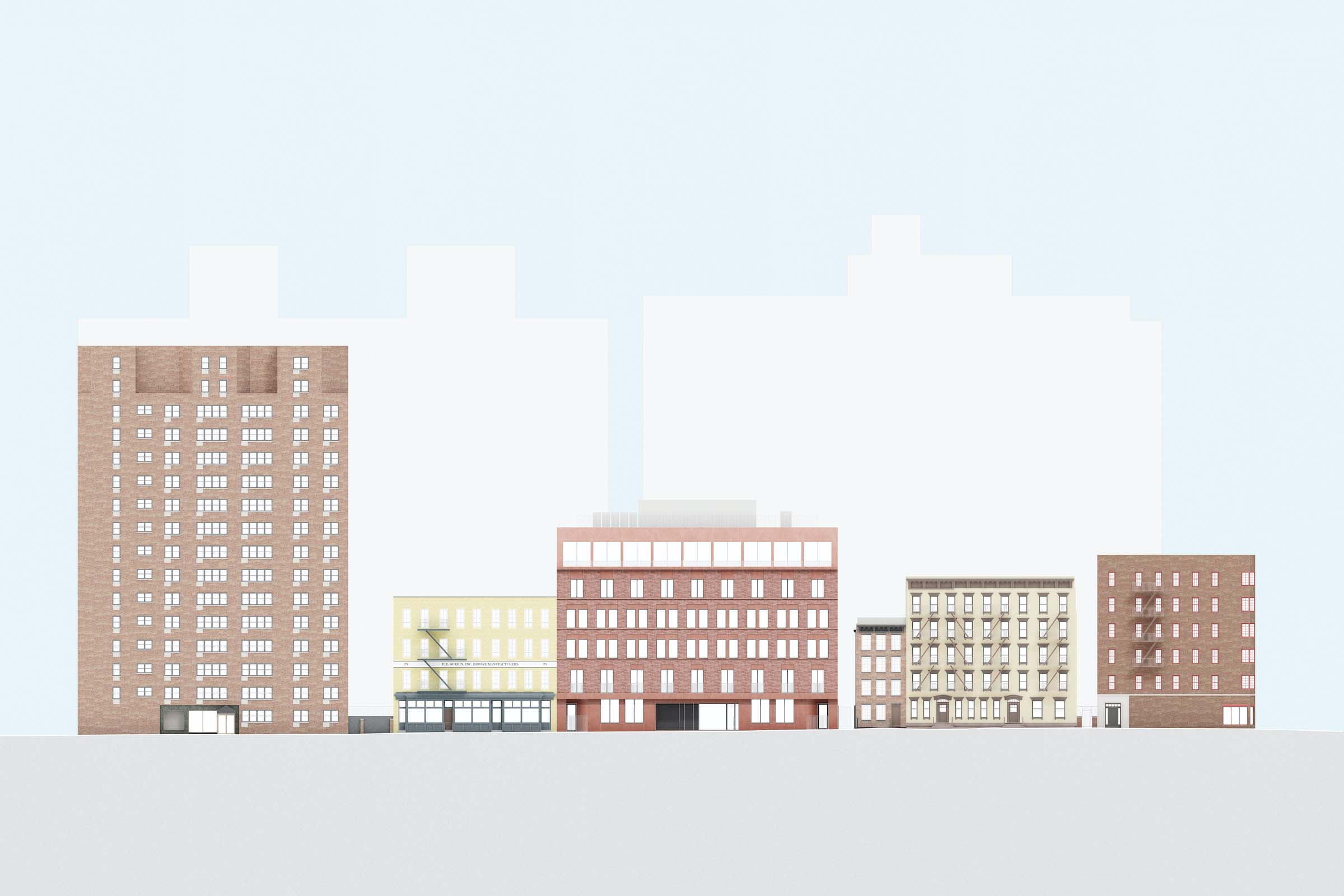 colorful architectural elevation of 11-19 jane street with its surrounding context