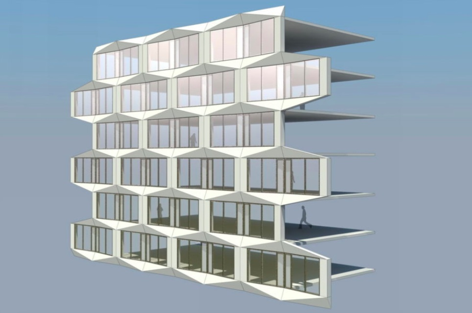 Computer modeled diagram of the residential facade program (Courtesy Handel Architects)