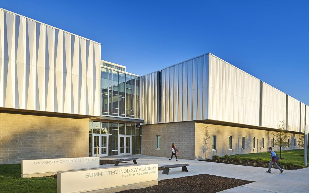 The Missouri Innovation Campus ripples with an angled aluminum skin
