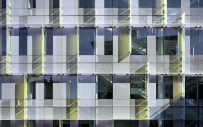 Dichroic glass turns a curtainwall into a shimmering veil