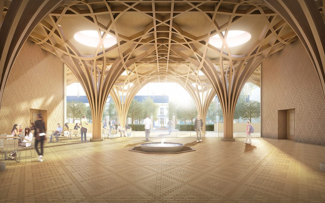 This British mosque is structured with a flowering wooden lattice