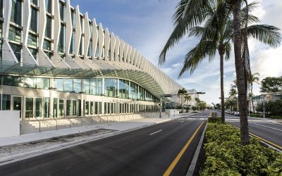Undulating fins create a monumental entryway at the revamped Miami Beach Convention Center
