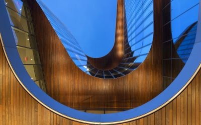 The Global Hub's undulating facade turns toward Lake Michigan for inspiration