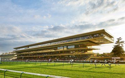 The Longchamp Racecourse goes for the gold with a metallic facade