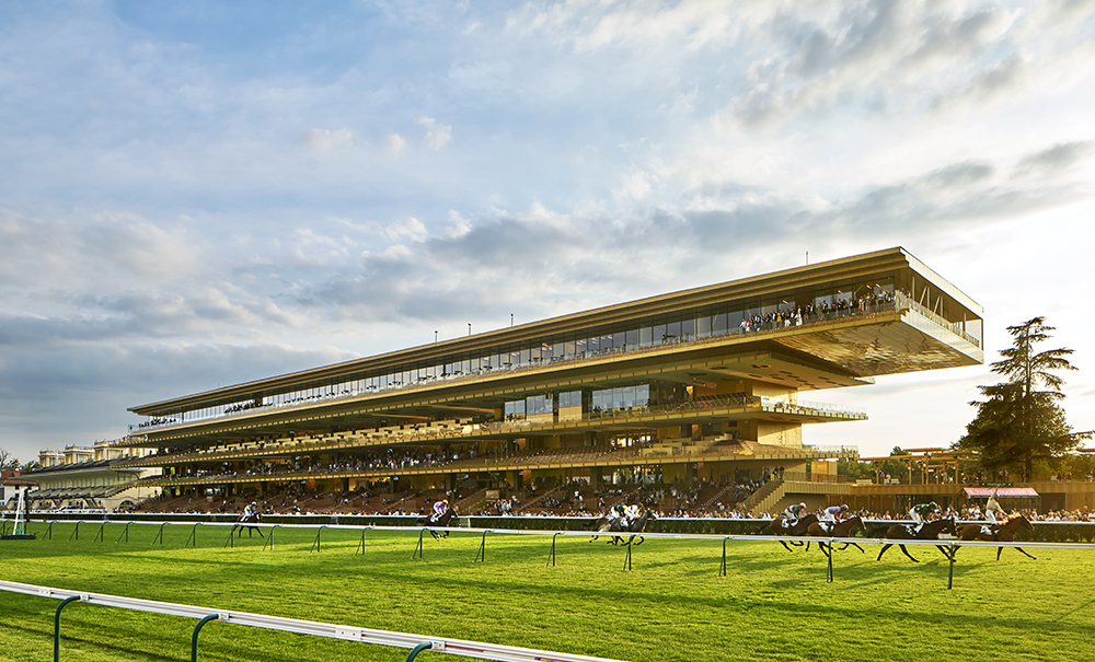 The Longchamp Racecourse goes for the gold with a metallic facade