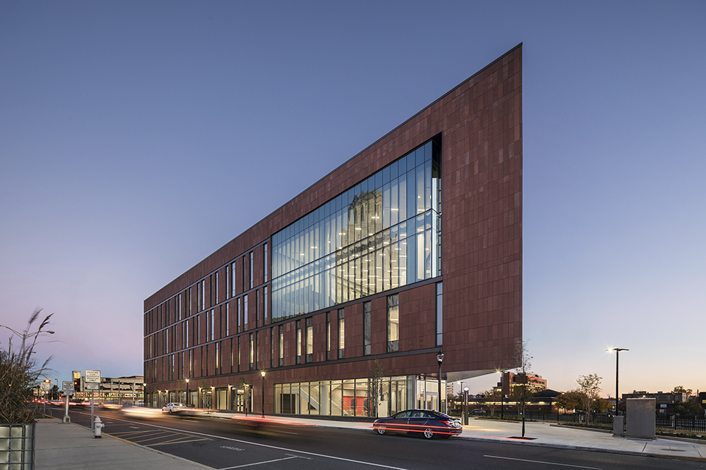 Rutgers Univ-Camden_Nursing and Science Building_Ext North Dusk 2__Copyright Sarah Mechling-Perkins Eastman