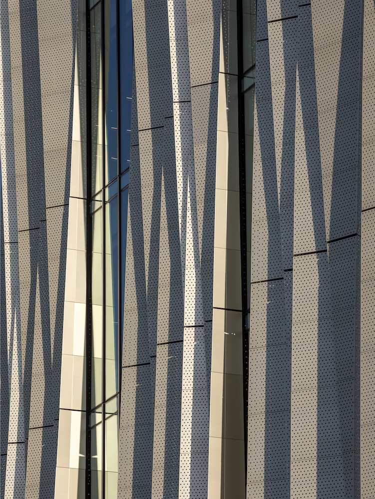 Perforated aluminum cladding of the Christchurch Central Library