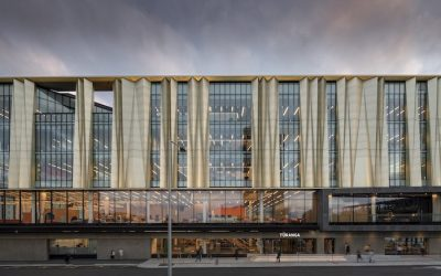 This New Zealand library beams with luminous aluminum and indigenous motifs