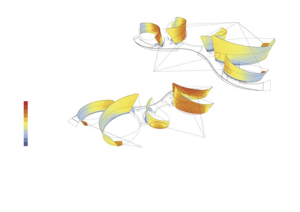 D radiation and louver arrangement diagram