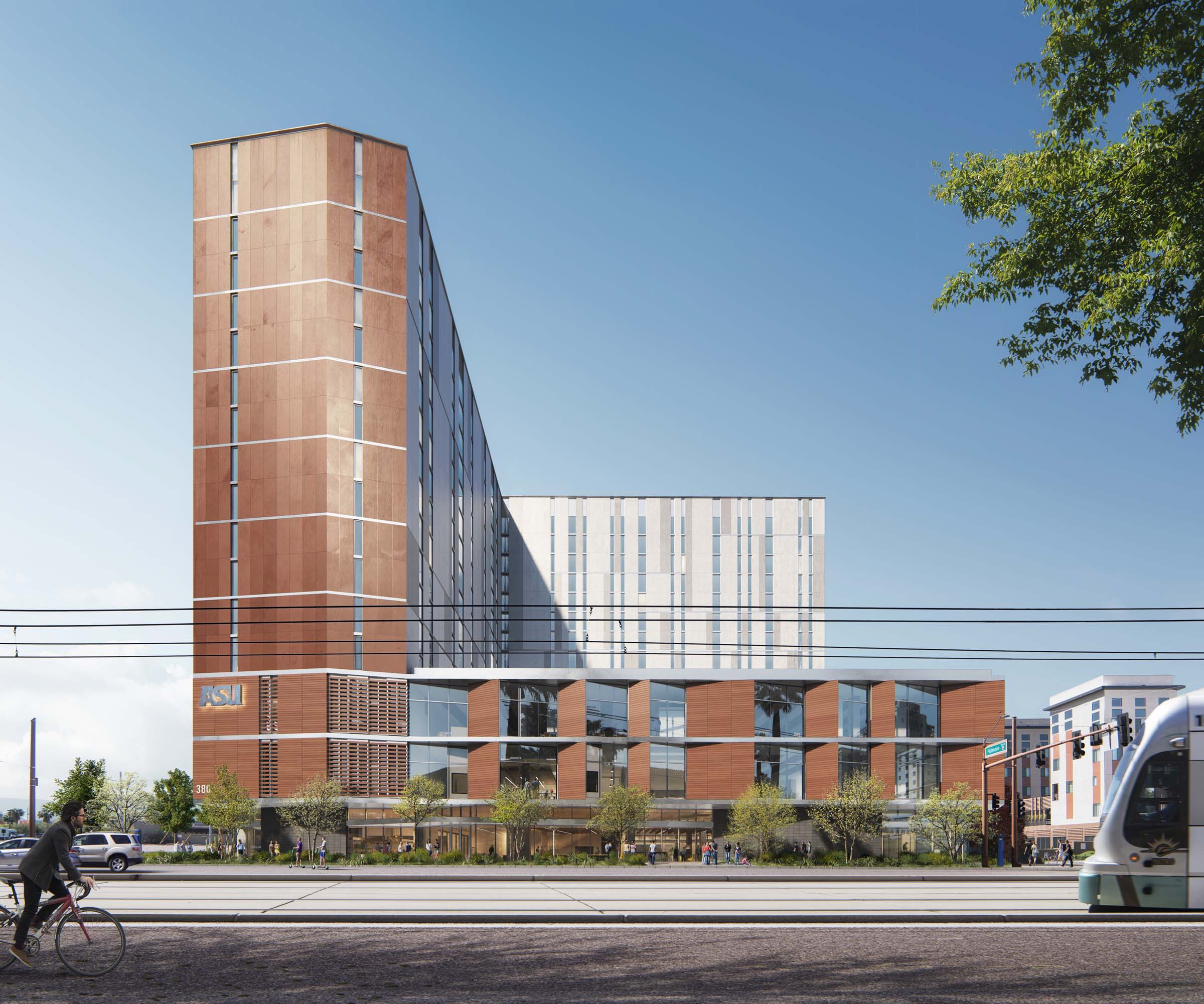 rendering of the L shaped building exterior highlighting the Arizona sun's intense glare