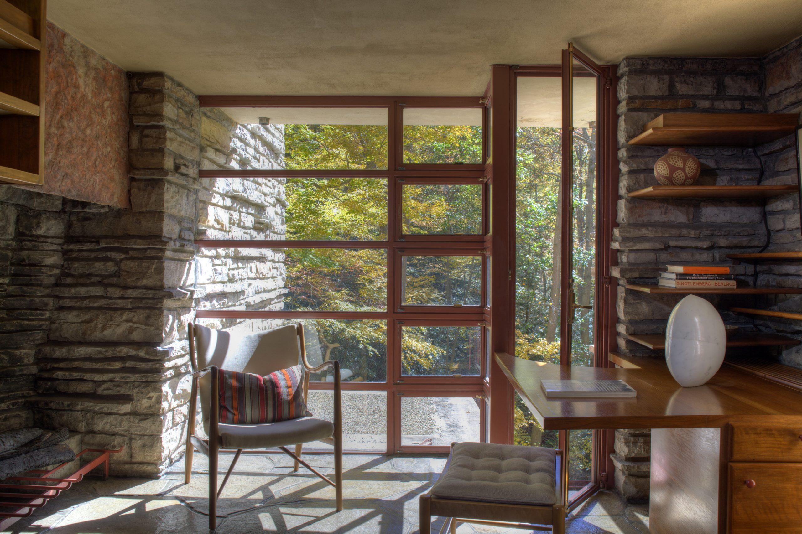 Fallingwater-view-of-Edgar-Kaufmann-jr-study_courtesy-of-the-Western-Pennsylvania-Conservancy-scaled