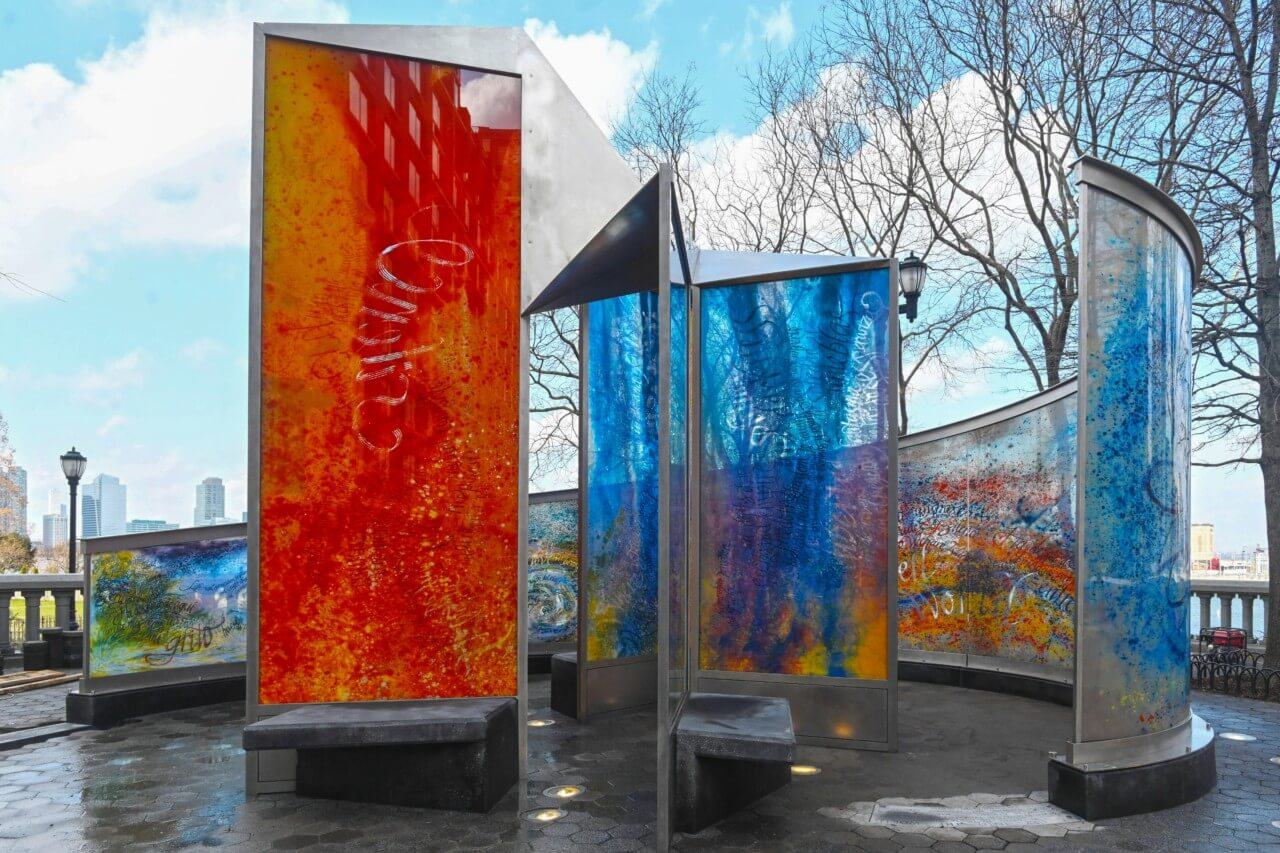 a monument rendered in etched glass slabs