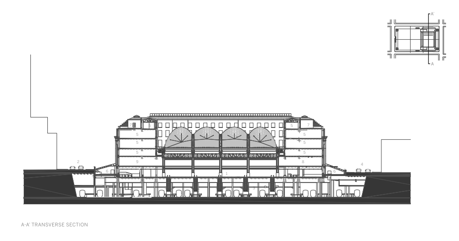 Architectural Section of Train hall