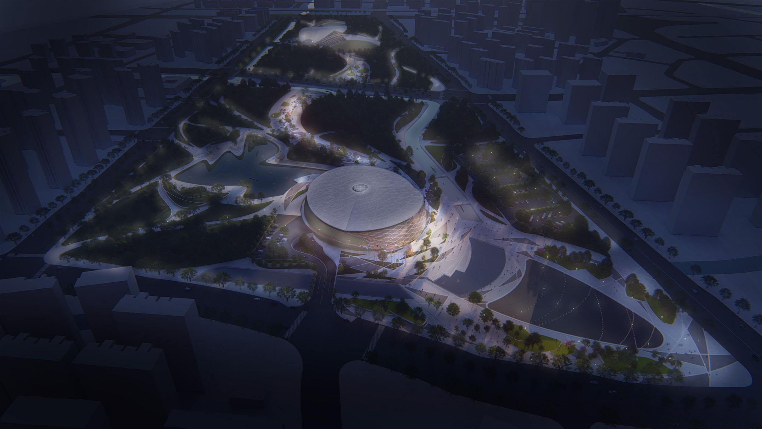 Table Tennis Stadium – Render – Night view