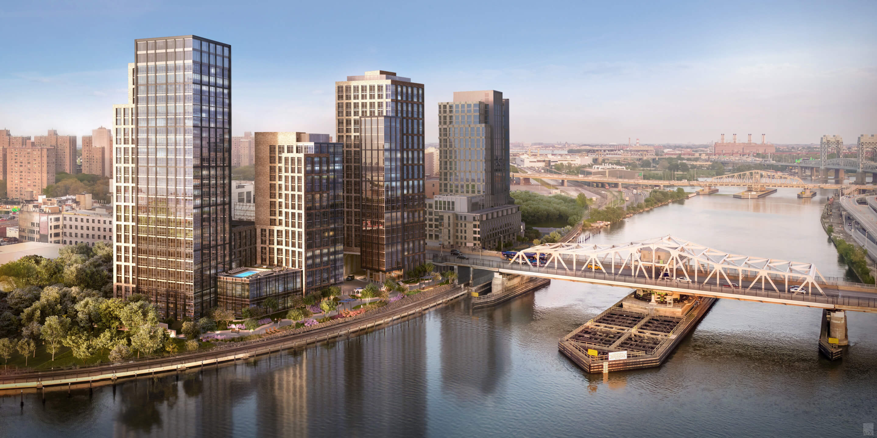 rendering of four of the towers seen bifurcated by the 3rd avenue bridge on harlem river