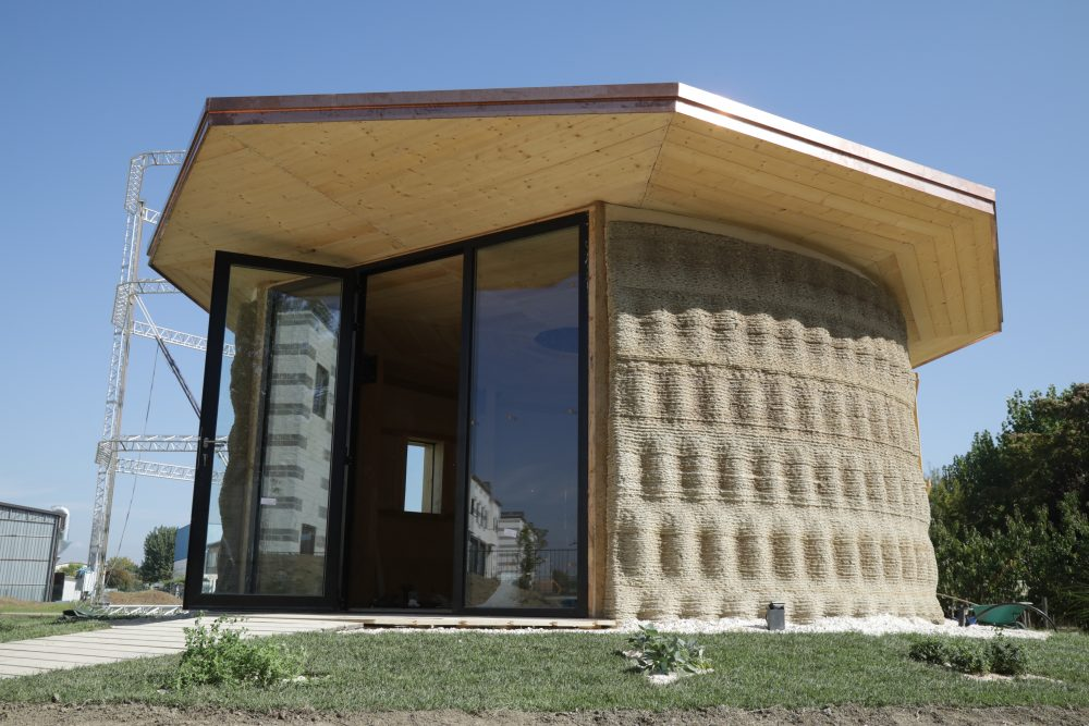 The Gaia House is a 3D-printed prototype made of biodegradable materials